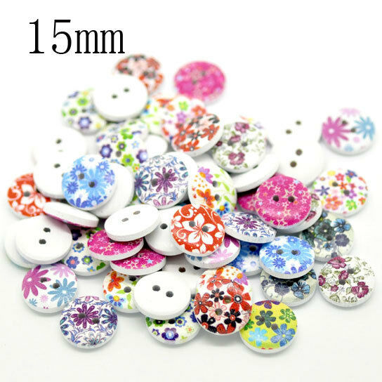 100 Mixed Multicolor 2 Holes Wood Sewing Buttons Scrapbooking 15mm Knopf Bouton
