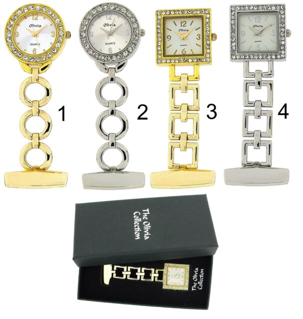 The Olivia Collection Gold Silver Professional Ladies Nurses Fob Watches