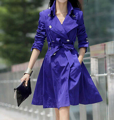Hot Womens Lapel Trench Coat Long Sleeve Jacket Belted Outwear Overcoat S M 2XL
