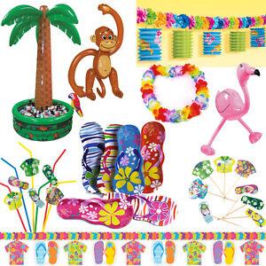 hawaii deko party starndparty beachparty motto strand beach set ebay. Black Bedroom Furniture Sets. Home Design Ideas