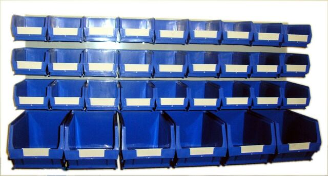 PLASTIC STORAGE BINS, LOUVRE BOX SET BINS AND PANEL  BLUE BK61