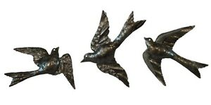 Bird Metal Wall Art metal wall art sculpture flock birds flying set hanging | ebay