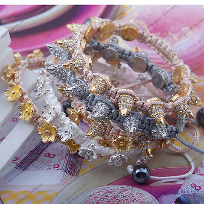 clear crystal gold silver tone rivet spikes bead flower charm bracelet string