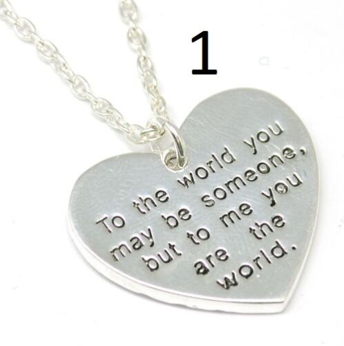TOC 2 Sided Worded I Love You Heart Pendant on Chain valentines day Gift For Her