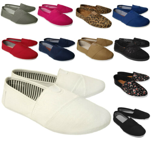 NEW Women's Lightweight Canvas Comfort Shoe Round Toe Ballet Flats Slipper MULTI
