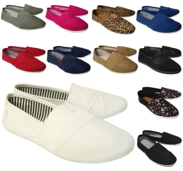 NEW Women's Lightweight Canvas Comfort Shoe Round Toe Ballet Flats Slipper MULTI