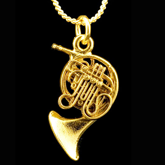 French Horn Scaled Replica Jewelry Necklace 24 Karat Gold Plated