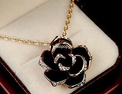 18K ROSE Gold GP Austrian Crystal Big Rose Flower Necklace BR1390