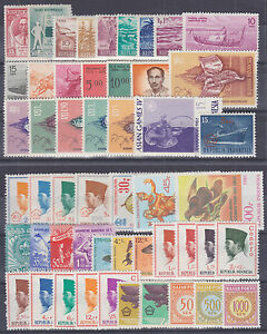Indonesia-Sc-415-J105-MLH-1955-1967-issues-51-diff-singles-F-VF
