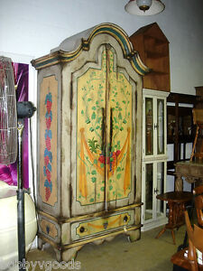 HUGE-HAND-PAINTED-FRUIT-MOTIF-COUNTRY-FRENCH-STORAGE-ARMOIRE-CABINET-PANTRY