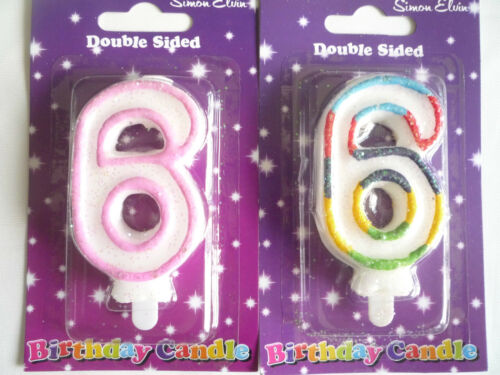 Pink or Multi-coloured Double Sided Birthday Candles 1 2 3 4 5 6 7 8 9 13 to 80