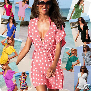 New-2016-Womens-Sexy-Kaftan-Style-Beach-Cover-Up-Sarong-Smock-Dress-SC