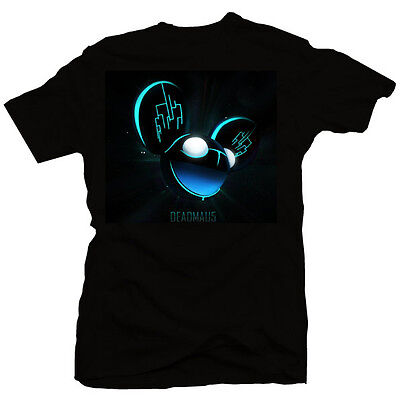 Deadmau5 neon blue logo electro house techno trance shirt new mens (black)