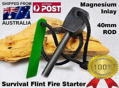 Magnesium FLINT ROD Camping Survival Fire Starter Lighter - Fishing Hunting BLK