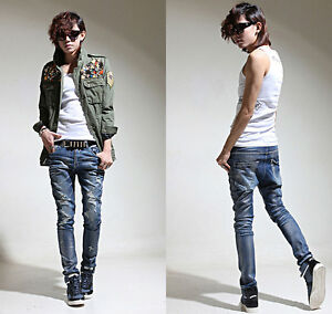 New mens slim skinny jeans pearl shinny baggy pants hip hop denim ...