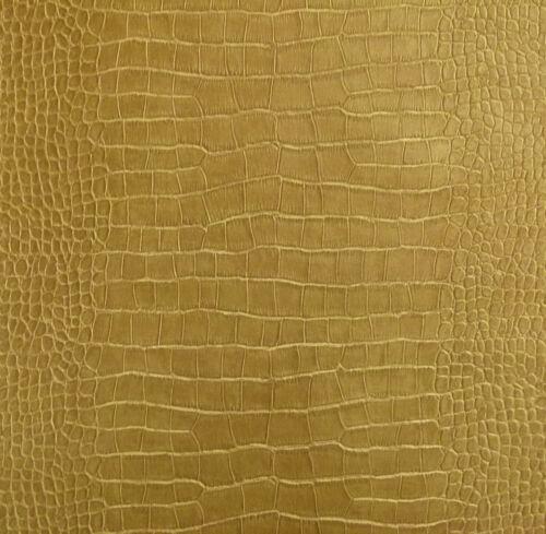6651-40) 4 Rollen hochwertige Design Vlies Tapete Krokodil Lederoptik Goldbraun