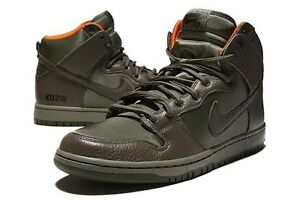 NIKE SB DUNK HIGH FRANK KOZIK OLIVE GREEN STEEL ORANGE QS janoski ... 0d8821403