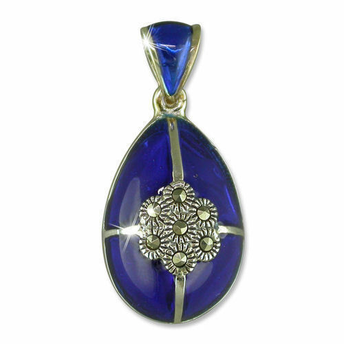 P756 - Oeuf silver Massif Email blue Cobalt Marcassites