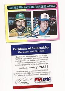 1975-Topps-311-Jim-Catfish-Hunter-amp-Buzz-Capra-Autograph-card-psa-dna
