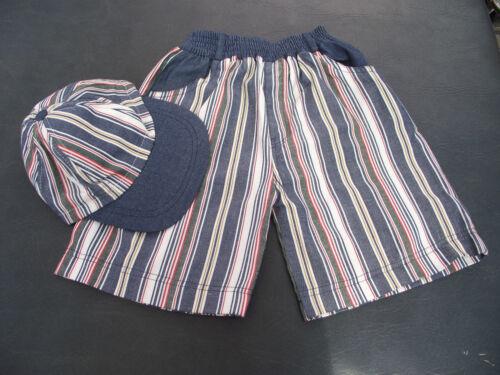 BNWOT Boys Sz 3 Jelly Beans Brand Stripe Elastic Waist Shorts /& Matching Cap