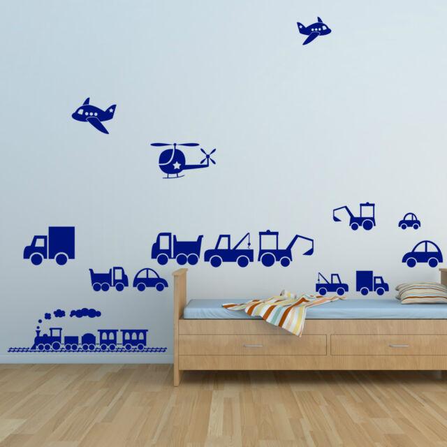 Vehicles Train, Car, Digger, Truck, Plane, Lorry - Boys Art Vinyl Wall Stickers