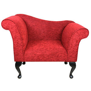 designer chaise chair upholstered in a red diamante fabric