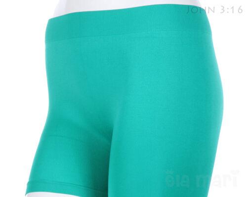 Seamless Short Leggings Basic Plain Solid Layering Athletic Shorts Pants Stretch