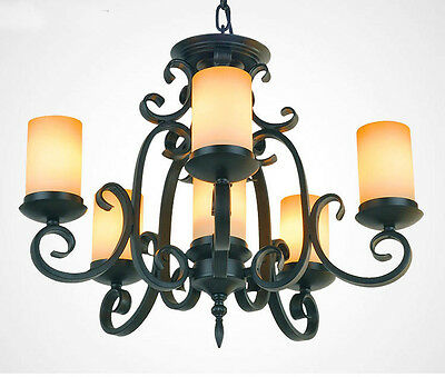 European Rural 6*Lights Black Wrought Iron+Glass Pendant Lamp Chandelier