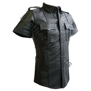 LEATHER Police Uniform Mens Hot Genuine Real Black Shirt BLUF Gay ...