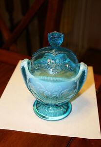 Rare 1900 vintage Northwood Glass Wild Bouquet Covered Candy Blue Opalescent