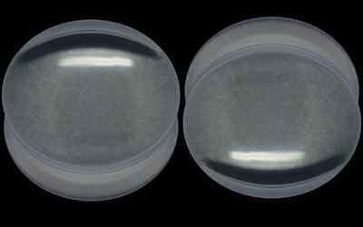 PAIR BLACK/WHITE/Clear Acrylic FLARED Flesh Ear PLUGS - CHOOSE COLOUR & SIZE!