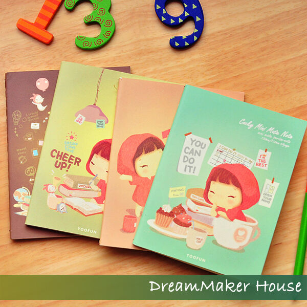 HAPPY=Cute Cookyshop Girl=Vintage Note Pad=Diary Memo Book=Notepad=Desk Notebook