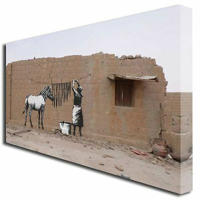 BANKSY ZEBRA STRIPES WASH GRAFFITI ART CANVAS PRINT 727