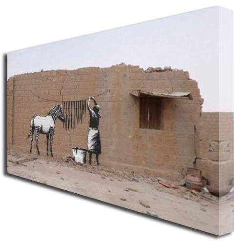 BANKSY ZEBRA STRIPES WASH GRAFFITI ART CANVAS PRINT 727