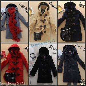 Fashion-Women-039-s-Wool-Blend-Hooded-Duffle-Toggle-Coat-Outwear-SZ-US-S-XL