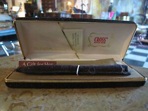 Vintage Cross 1/20 14 kt Gold Filled Pen in Box w/ Leather Pen Purse