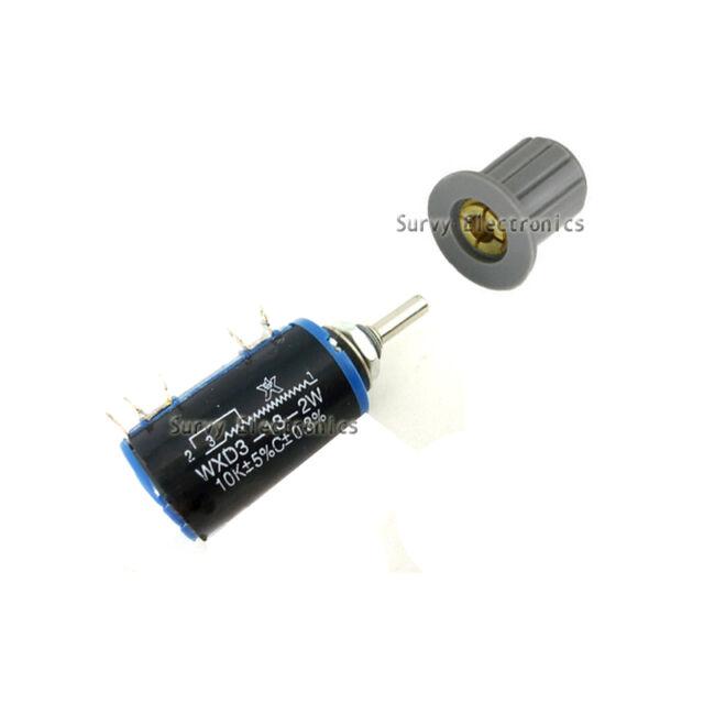 New WXD3-13-2W Rotary Multiturn Wirewound 4.7K ohm Potentiometer with Knobs