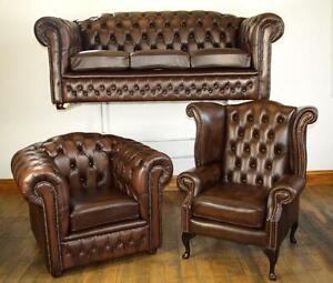 Chesterfield Leather Sofa Suite Chair BRAND NEW SALE EBay