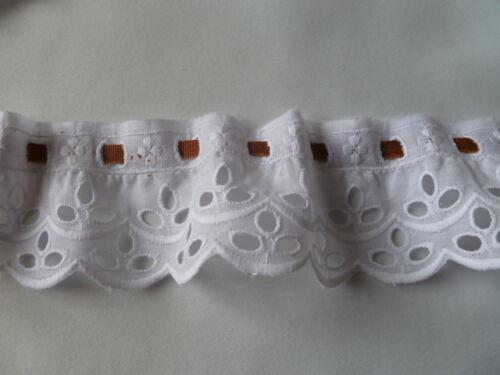 Band bestickt Spitzenband mit Durchzugsband 5 cm breit  Gelb und Weiß