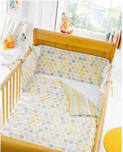 Image Is Loading Baby Nursery Cot Bedding Polka Dots Stripes Animals