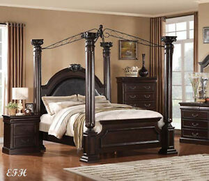new elegant four post pillar canopy cherry finish wood roman queen or king bed ebay. Black Bedroom Furniture Sets. Home Design Ideas