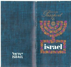 ENGLISH BROCHURE:PICTURE PASSPORT TO ISRAEL:1960-70'S VTG RARE JERUSALEM KIBBUTZ