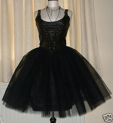 tutu skirt long 10 black tulle goth prom wedding ballet rockabilly adult lined