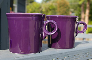 Set-of-Two-2-Purple-Plum-Fiesta-Ware-Ring-Handled-Mugs-HLC-USA-Homer-Laughlin