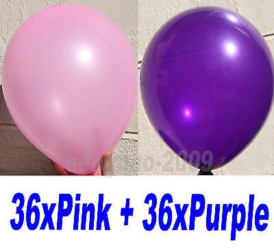 36x Pink + 36x Purple LATEX BALLOONS Wedding Party Custome Air/HeliumQuality