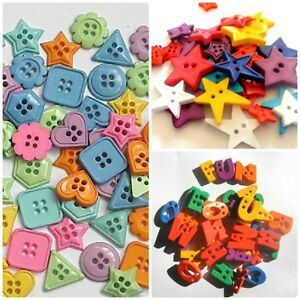 Fun-Bold-Bright-Button-Shapes-ABC-STARS-HEARTS-30g-Mixed-Bags-Stash-Boost