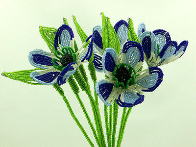 Vintage French Glass Beaded Blue Poppy Anemone Flower Bouquet