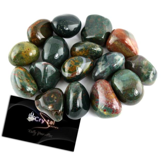"Crystal Allies Materials: 1/2 lb Bulk Tumbled Bloodstone Stone Large 1"" Natural"