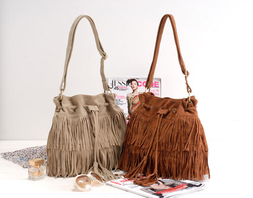 Hot Faux Suede Fringe Tassel Shoulder Bag Womens Handbags Messenger Bag
