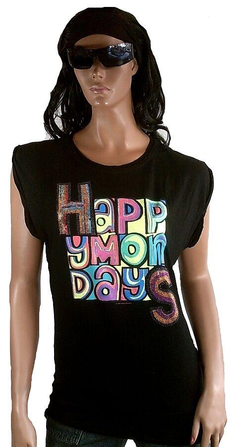 WoW AMPLIFIED Official HAPPY MONDAYS Star STRASS Longshirt Tunika T-Shirt XS